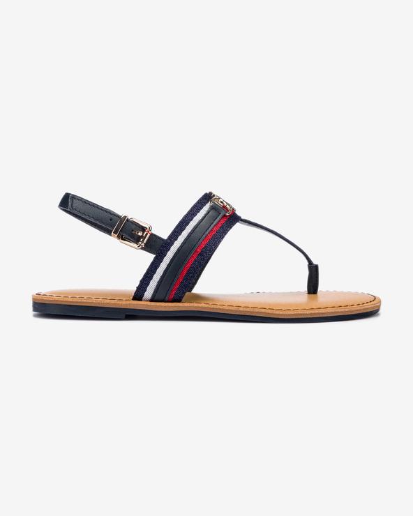 Levně Tommy Hilfiger Shimmery Ribbon Flat Sandále Modrá