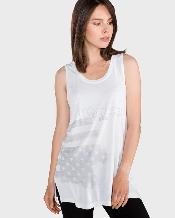 Blauer Unterhemd Weiß